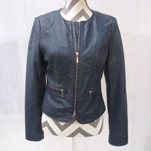 The Limited blue vegan leather moto zip jacket S